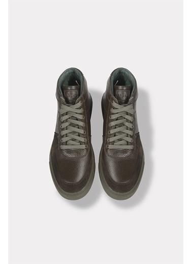 Krähe Gala Olive Deri Minimal Sneaker Bot Yeşil